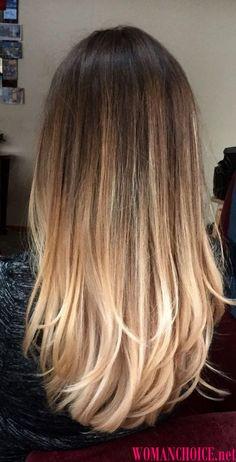 Балаяж на длинных прямых волосах