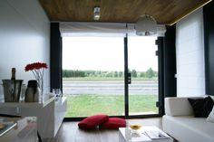 Widok przez przeszkloną ścianę Rubiloft 24 m2 Windows, Curtains, Home Decor, House, Blinds, Decoration Home, Room Decor, Window, Draping