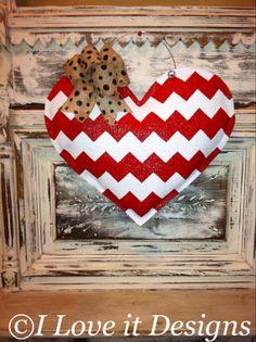 Red Chevron Heart Burlap Door Hanger by ILoveItDesigns on Etsy, $30.00