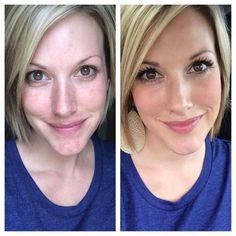 Younique Before and After. Message me for help choosing the color that's right for your complexion!