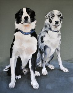 Alan Moir. Fly and Dexter. Acrylic on canvas. www.facebook.com/alan.moir.portraits