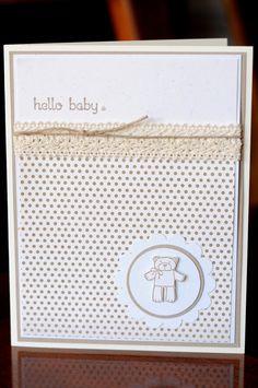 "Handmade monochromatic ""Hello baby"" teddy bear card for new baby - blank inside"
