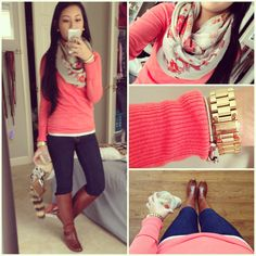 Pink tissue top, scarf, jeans, riding boots