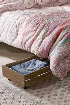 Under-The-Bed Rolling Wood Storage Box | $59