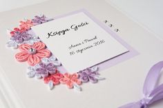 Elegant Unique Wedding Guest Book Quilling Flowers Pink Lilac Delicate Personalized Guestbook Sign In Book Wedding Keepsake Etsy Custom Wedding Book by PaperParadisePL
