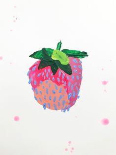 Strawberry at ArtfullyWalls, Acrylic paint on heavy mixed media paper. Art And Illustration, Painting Inspiration, Art Inspo, Arte Sketchbook, Painting & Drawing, Painting Abstract, Acrylic Paintings, Arte Floral, Grafik Design
