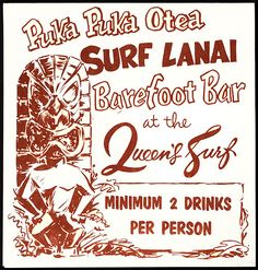 1950's-60's table card, front cover & drink minimum table card for Surf Lanai / Barefoot Bar from Queen's Surf- Honolulu, Hawaii