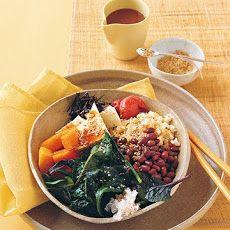 Vegetable-Rice Bowl with Miso Dressing Recipe Main Dishes with arame, radishes, ume plum vinegar, umeboshi plums, gomasio, peeled fresh ginger, miso paste, toasted sesame oil, adzuki beans, sea salt, brown rice, butternut squash, firm tofu, greens