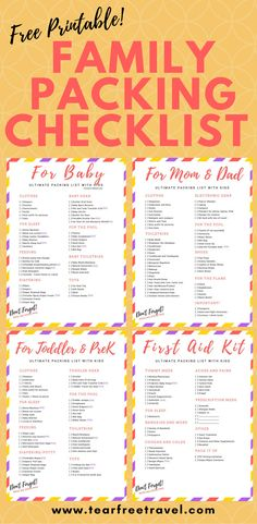 Looking for the ultimate family packing list? This packing list sample is a compilation of my list of toddler travel essentials, baby travel essentials, my travel first aid kit checklist, AND a list of packing essentials for moms and dads! #freeprintable #packinglist #familypackinglist #familypackingchecklist #travellingwithkidschecklist #toddlertravelitems #babytravelessentials #toddlertravelessentials #printabletravelpackinglist #packinglistsample #kidpackinglist #packinglistforvacation