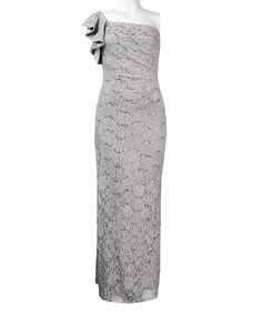 Look at this Silver Lace Asymmetrical Gown on #zulily today!