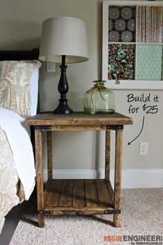 DIY Simple Square Bedside Table Plans | Rogue Engineer