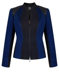 INK TEXTURED JACQUARD AND BLACK PANEL ZIP JACKET - Style Number: KA98217 City Outfits, Modest Outfits, Work Attire Women, Suits For Women, Sweater Jacket, Blazer Jacket, Blazer Fashion, Fashion Outfits, Classy Suits