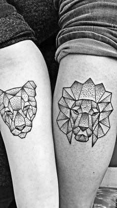 Geometric lion and lioness as couple tattoo. I chose the lion for my calf and my girlfriend got her lioness on her forearm. So prod of it!!