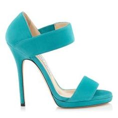 Jimmy Choo - Turquoise Suede Sandals A timeless, modern sandal on a beautiful construction, with 2 simple straps played as a feature across the toes and ankle. Made in Italy in turquoise suede, they are understated yet modern. Heel height measures 120mm/4.8 inches.