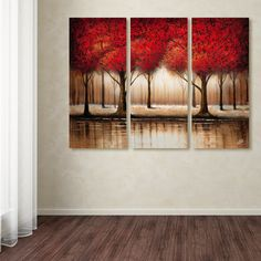 This ready to hang, gallery-wrapped multi panel canvas art set features a landscape of red trees. Masters Fine Art is a company that travels around the world to bring the best in fine art from outstan Multi Canvas Painting, 3 Piece Painting, Canvas Artwork, Painting Prints, Canvas Prints, Canvas Paintings, Red Tree, Panel Art, Detail Art