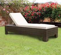 Cuba Brown Synthetic Rattan Sunlounger