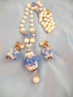 Vendome Blue and White glass beaded necklace.  Unique and interesting tassel design