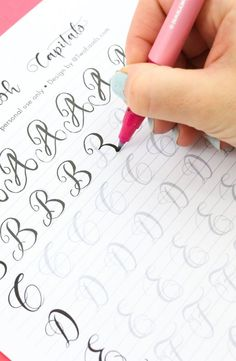Practice your modern calligraphy flourishes. These are so pretty and right the r… Practice your modern calligraphy flourishes. These are so pretty and right the right size for your Tombow fudenosuke or other small brush pens. Hand Lettering Practice, Hand Lettering Alphabet, Calligraphy Practice, Calligraphy Handwriting, Calligraphy Letters, Brush Lettering, Brush Pen Calligraphy, Calligraphy Alphabet Tutorial, Modern Calligraphy Alphabet