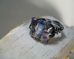 Lampwork Ring Wire Wrapped Purple Blue by SusanHeleneDesigns, $20.00