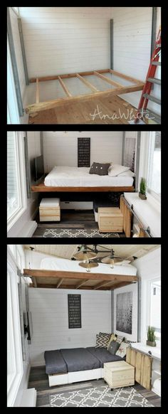 DIY elevator bed for small house (Ana White) bed # .- DIY elevator bed for small house (Ana White) bed – home – bed - Small House Diy, Tiny House Living, Tiny House Design, Tiny House Office, Home Design Diy, Small Houses, Interior Design, Design Design, Modern Design