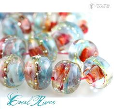 Coral River Organic glass lampwork bead strand   beadsandbotanicals - Beads on ArtFire