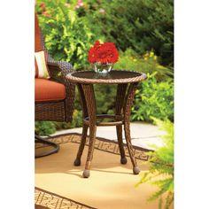 Garden Table Brown 20  Round Glass Top Outdoor Rust Resistant Frame Hand Woven #BetterHomes