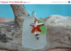 sea glass necklace ,swarovski starfish ,dangle sea shell charm ,beach jewelry ,sea , ocean inspired ,Authentic ,nature jewelry Necklace    This