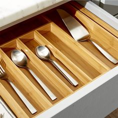 Expandable Bamboo Flatware Tray - Crate and Barrel