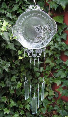 Poinsettia Plate Upcycled into a Wind by SerendipityGlassWrks Crystal Beads, Crystals, Door Displays, Glass Wind Chimes, Christmas Items, Poinsettia, Wire Jewelry, Clear Glass, Stained Glass