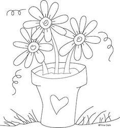. art patterns, embroidery patterns, templat, flower power, flower pots