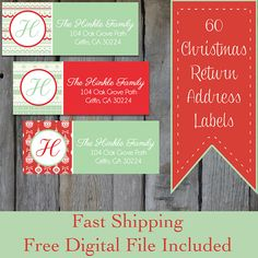 60 Personalized Christmas Return Address Labels  by OhBabyStickers