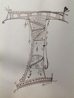 Zenspirations Monogram T, #zendoodle,#zentangle