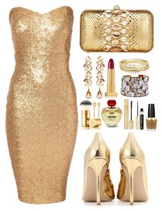 """Gold on Gold"" by the-messiah ❤ liked on Polyvore featuring Jane Norman, Zagliani, Ben-Amun, STELLA McCARTNEY, Lipstick Queen, Jules Smith, OPI, Moschino, Yves Saint Laurent and Tory Burch"