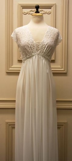 "I tried this bridal nightgown by Jonquil, amazing, had a ""moment"" in the dressing room, exactly how I invision my wedding dress Sewing Lingerie, Pretty Lingerie, Sheer Lingerie, Vintage Lingerie, Lingerie Sleepwear, Bridal Nightgown, Tea Gown, Nursing Dress, Elegant Bride"