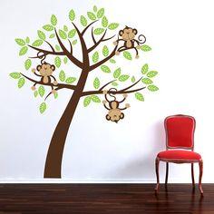 Childrens Cheeky Monkey Tree Wall Stickers