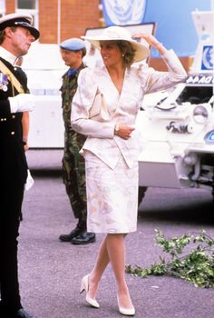 Princess Diana at the barracks of the 13th and the18th Royal Hussars Regiment in Wiltshire, 1987