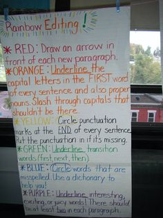 Color-Coded Editing~ Students use a different colored pencil for checking punctuation, capitalization, transition words and especially powerful language.   Interesting!