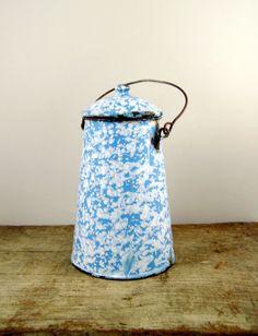 Vintage French enamel milk pot - blue enamel pot - vintage French enamelware…