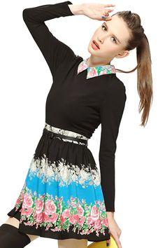 Floral Print Blue Pleated Dress #ROMWE