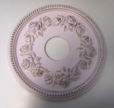 """Shabby Rose 16"""" Diameter Ceiling Medallion for Chandeliers or Fans Pink and Gold finish, hand painted."""