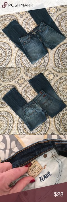 7 for All Mankind Distressed Flare Jeans SZ 28 Awesome, comfortable distressed flare jeans by 7 for All Mankind. Absolutely fantastic condition with no flaws. Lightly distressed hems and pockets. Rise, inseam and waist included in photos. 7 For All Mankind Jeans Flare & Wide Leg