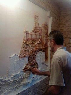(99) Одноклассники Plaster Sculpture, Plaster Art, Wall Sculptures, Sculpture Art, Mural Wall Art, Mural Painting, Cement Art, School Murals, 3d Studio