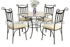 black wrought iron table and chair sets | Indoor Wrought Iron Dining Table and Chair Set