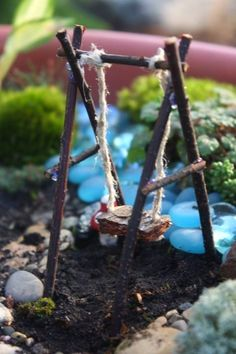 LOTS of furnishings in one post - from simple to complex - swing, bridge, baby bassinet, campfire, pond, bird's nest, stream, ladder - love the elements! ********************************************** Juise - #fairy #garden #gardening #fairies #furnish #crafts #handmade #DIY #elements #whimsy - tå√
