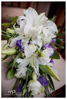 White and purple bridal bouquet. By Tango Flowers (Auckland, NZ)