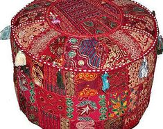 Red Ottoman, Ottoman Decor, Ottoman Cover, Pouf Ottoman, Ikea Pouf, Handmade Ottomans, Yellow Interior, Vintage Patches, Boho Bedding