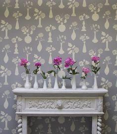 Vintage Vases Flower Allover Wall Stencil by Bonnie Christine for Royal Design Studio Stencils