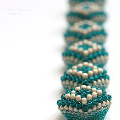 Teal Bracelet Geometric Diamond Beadweaving Blue by SarahRobinL
