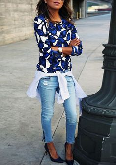 Blue Floral Print Long Sleeve Slim Sweatshirt - Sweatshirts - Tops