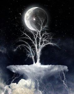 Mystical moon and tree